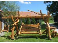 Wooden, solid garden swings