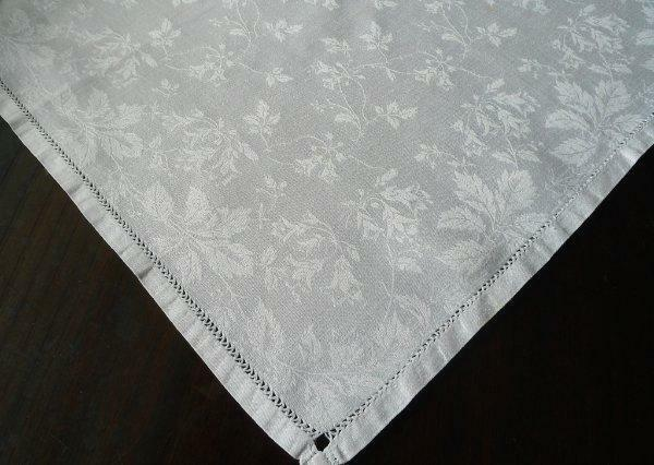Set 9 Large Irish Linen Damask Dinner Napkins Roses Vines Lace Mono B