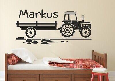 Wandtattoo Wandaufkleber Aufkleber KIDS Kinder Junge Traktor Anhänger   Name 129