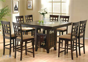 new 9pc barlow cappuccino wood counter dining table set w lazy susan