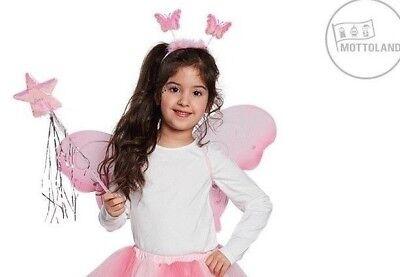 3-tlg Schmetterling-Set LED Zauberstab Wabbles Flügel rosa Elfe Kostüm 129254813 ()