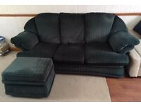 Sofa and foot rest (Dark green)
