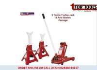 Sealey Trolley Jack 3 Tone Chassis & 3 Ton Axle Stands BLUE NATIONAL 3290