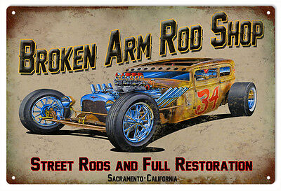 Broken Arm Rod Shop Hot Rod Garage Art Sign