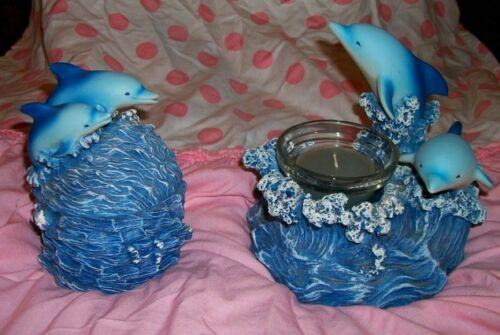 2 HOUSE OF ZOG Dolphin Keepsake Jewelry Box & Candle Holder~Ocean Sea~Resin