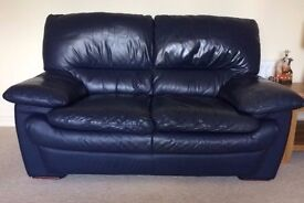 2 seat leather sofa - navy