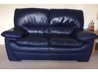 Navy Leather Suite - 2 seater sofa and 3 seater sofa