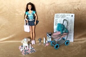 Barbie doll with pet stroller