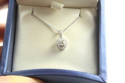 14k White Gold Halo Cluster Diamond Pendant and Foxtail Chain Set
