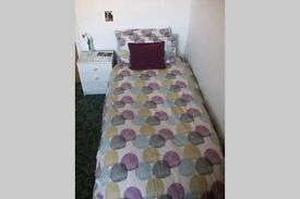 Spacious room with single bed.