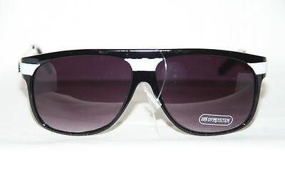 Retro Sonnenbrille Super Hip Flattop schwarz weiß  Nerd Shades black white 264