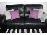 Ex-DFS Black Two Seater & Three Seater 100% Leather Sofa's