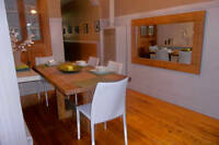 Oak wood table, Oak wood decorative mirror and 4 white chairs