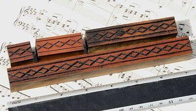 4 X Ornament Wood Letterpress Wooden Printing Blocks Type Ornaments Antique Fram