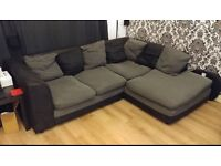 Charcoal and grey corner sofa