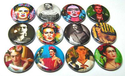 "12 FRIDA KAHLO Pinbacks Buttons 1"" Pins Badges Mexican Folk Artist Painter"