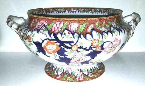 "SPODE 1873 Huge & Gorgeous Imari Colored Tureen ""Vandyke"" Pattern Batt. Beauty"