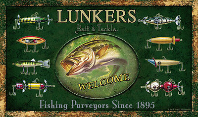 Fish Lures Welcome Mat Doormat Wildlife Art also in Bear Moose Lure camo 1866 on Rummage