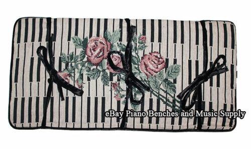 "Piano Bench Cushion Pad 14"" x 29"" Keyboard and Rose Design"