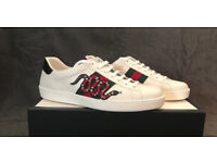 Gucci white leather, snakes and stripes ace low top trainers, Brand New