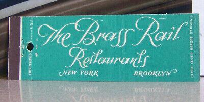 Vintage Matchbook Cover P4 New York Brooklyn Brass Rail Restaurants Nice Font