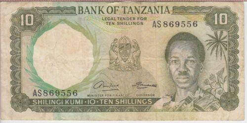 TANZANIA  BANKNOTE  P2a-9556  10 SHILLINGS SIG. 1  FINE