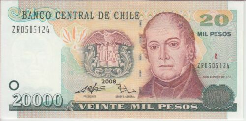 Chile Banknote P159b 20,000 Pesos 2008 Replacement, UNC