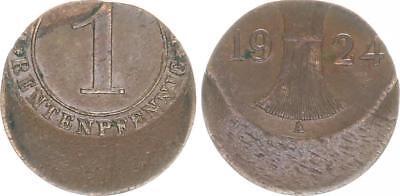 1 Renten Pfennig 1924 Fehlprägung: ca. 25%-30% dezentriert ss-vz
