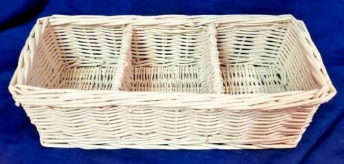 Vintage White Woven Rattan Wicker Basket Wicker Shabby Chic Basket Shelf