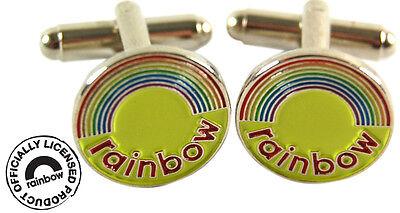 Rainbow logo Enamel Metal cufflinks - Brand New cuff links great gift in tin