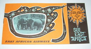 Vintage 1960s East African Airways See East Africa Brochure