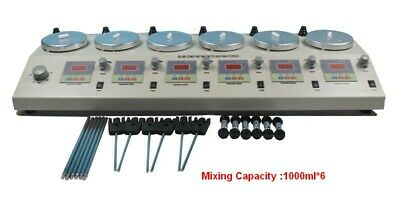 6 Heads Magnetism Stirrer Heating Mixer Hot Plate 110v 4.96in Working Diameter