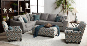 Brand new 2 pcs grey linen fabric sectional on sale $1348 only!!