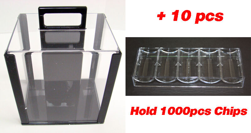 NEW 1000 CASINO POKER CHIPS CARRIER WITH ACRYLIC RACKS