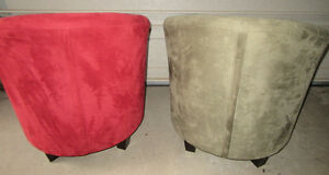 2 SUEDE BARREL CHAIRS Stratford Kitchener Area image 2