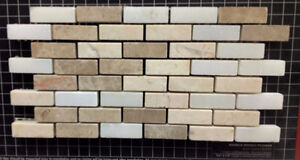 0.4''x1.2'' Backsplash Cream, Emperador Light and Bianco Carrara