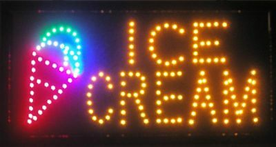 Flashing Motion LED Business Ice Cream Shop SIGN +On/Off Switch Open Light Neon