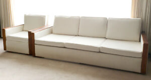 Custom Made Vintage Sofa and Chair with Teak Accents