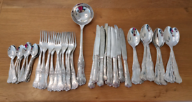 Vintage style silver plated cutlery set, 61 piece set