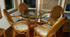 Rattan table, chairs and loveseat