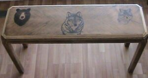 Wood Burned Console table: Black bear, wolf and fox