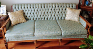 Vintage Wood frame Tufted Button Back Sofa Couch & Chair