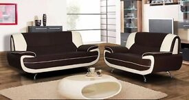 BROWN BRAND NEW ITALIAN FAUX LEATHER CAROL 3 AND 2 SEATER SOFA IN DIFFERENT COLOURS