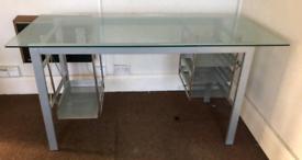 Office desk- metal frame, glass top