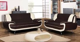 CHROME LEGS CAROL 3+2 SEATER LEATHER SOFA - IN BLACK RED WHITE AND BROWN COLOR