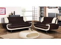 MODERN LOOK BRAND NEW LEATHER ** 3 AND 2 SEATER SOFA** IN BLACK AND RED WHITE & BLACK