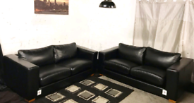 •• New Ex display dfs Black real leather 3+3 seater sofas