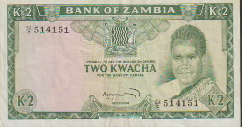 Zambia 2 Kwacha Banknote 1968 Choice Very Fine Condition Cat#6-A
