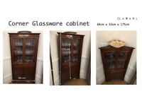 Corner glassware cabinet