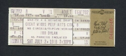 1988 Bob Dylan Unused Concert Ticket Mansfield MA Down In The Groove